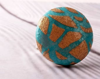 Ring in turquoise rice paper and gold