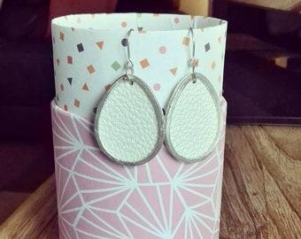 Boucles d'oreilles gouttes argent 925 cuir simili blanc métallisé bijoux