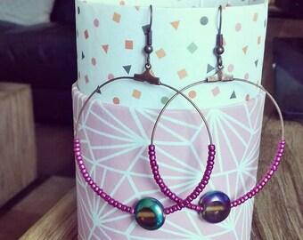 """boucles d'oreilles créoles anneaux perles violettes caméléons laiton naturelle collection """"violette glacée"""""""