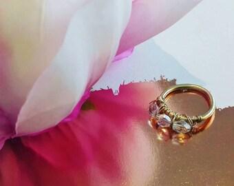 bague laiton doré et aluminium bohème chic perle facette miroir diamant cadeau noël