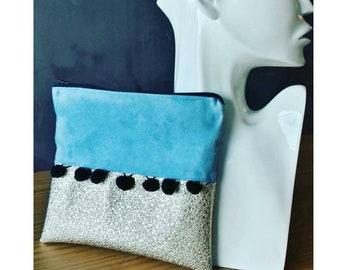 pochette sac à main pompons trousse makeup bag