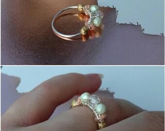 bague cuivre argenté perle facette de bohème