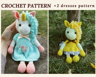 Pattern Crochet Unicorn Toy Amigurumi Unicorn Crochet Animal Pattern Nursery Kids Gift Crochet Amigurumi PDF