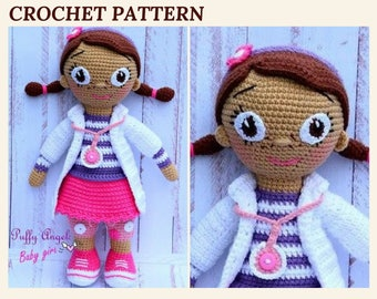 Crochet Doll Pattern Doc McStuffins Doll Pattern Amigurumi Doll Doctor Toys Crochet Toys Pattern Stuffed Toy Crochet Plush Toy