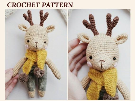Crochet Reindeer Pattern Christmas Reindeer Amigurumi Deer Etsy