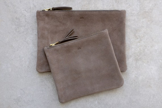 Suede Pouch with Zipper, Earth