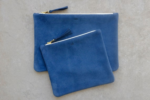 Suede Pouch with Zipper, Azur