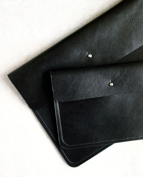 Flat bag, clutch, wallet, necessaire, document bag in black genuine leather