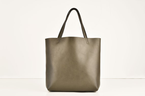 Shopping Bag in Elephant, Genuine Leather