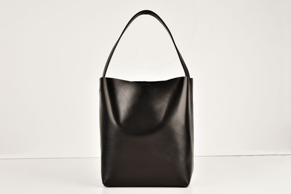 Square Bucket Bag in Black Genuine Leather