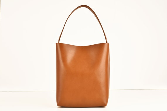 Square Bucket Bag in Cognac Genuine Leather