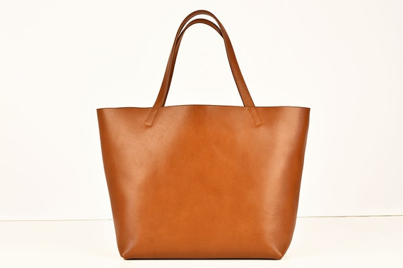 Large Tote in Cognac, Genuine Leather