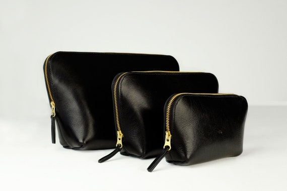 Cosmetic Bags, Three Sizes with Zipper, Genuine Leather, Color Black