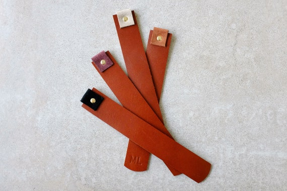 Bookmarks *personalizable* Bookmark Chestnut genuine leather