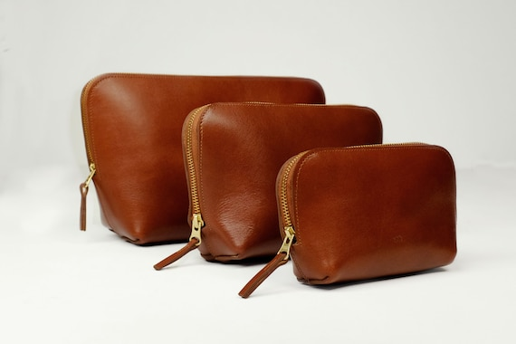 Cosmetic Bags, Three Sizes with Zipper, Genuine Leather, Color Chestnut