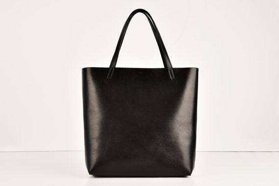 Shopping Bag in Black Real Leather