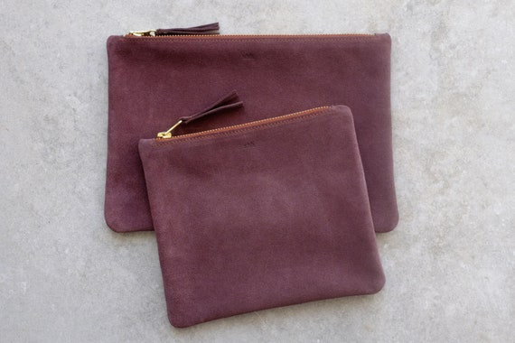Suede Pouch with Zipper, Wine