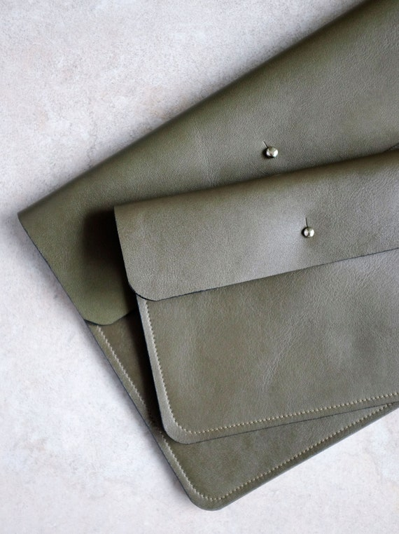 Flat Bag, Clutch, Wallet, Necessaire, Document Bag in Elephant Genuine Leather