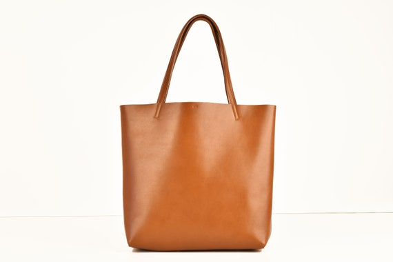 Shopping Bag in Cognac Genuine Leather