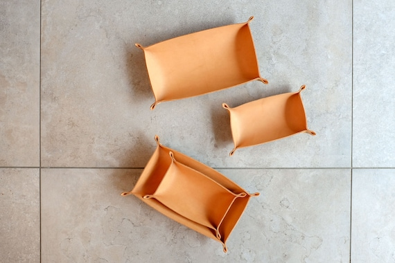 Long Couple Trays, Two Leather Trays, Cognac