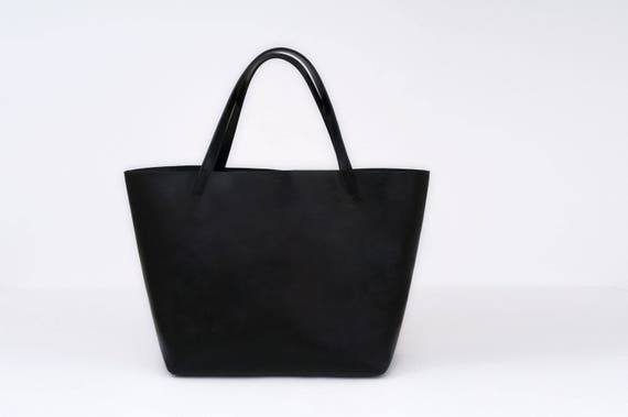 Large Tote in Black Genuine Leather