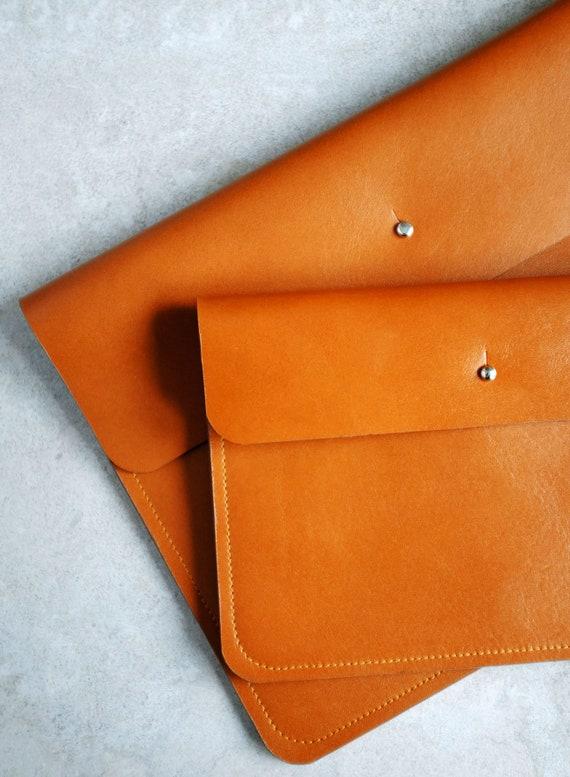 Flat bag, clutch, wallet, necessaire, document bag in cognac genuine leather