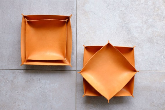 Leather Bowls Couple Tray Set of Two Bowls, Cognac