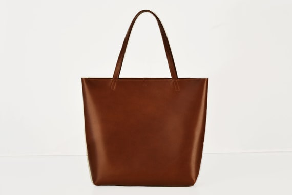 Shopping Bag in Chestnut, Genuine Leather