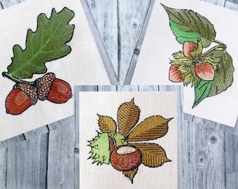 Embroidery file set Herbstfruechte, Autumn fruit, autumn foliage, 10x10 frame, Herbstdeko embroidery,