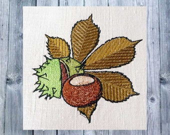 "embroidery design chestnut, chestnut with leaf, 4""x4"" hoop, autumn decoration, embroidered autumn"