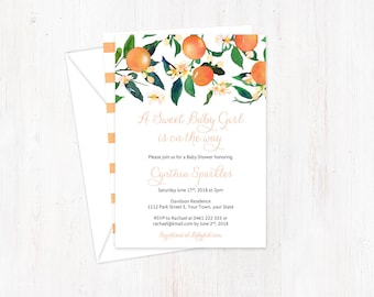 Sweet Baby Girl Shower Invitations, Oranges Baby Shower Invites, Fruit baby shower, Citrus Baby Shower, Fresh Invitations, Double-sided card