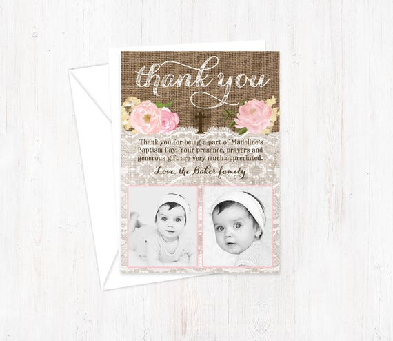 Twins Baptism Thank You Card Thank You Card Two Photos Etsy