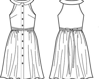 Summer dress Sewing Pattern, Women dress pattern pdf, Digital download, Haltered shirt dress with buttons front, collar, gathered skirt.
