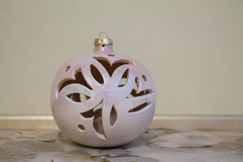 collectible ball. hanging Decorate Christmas tree iridescent ivory ceramic