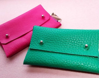 Genuine leather cardwallets in happy colors