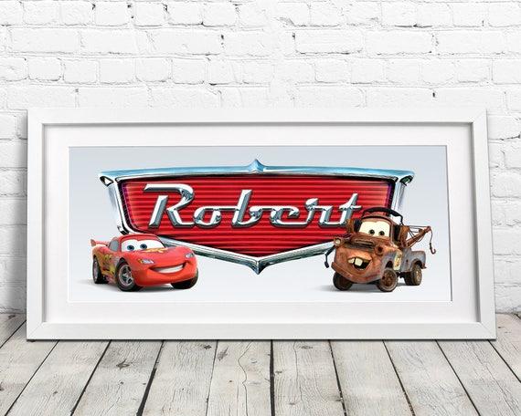 Lightning McQueen Name Art / Disney Cars / Disney Nursery | Etsy