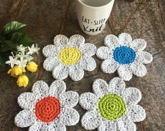 Daisy Coaster Set of 4, Drink Coasters, Coasters, Drink Coaster, Cotton Coasters, Flower Coasters, Tea Party, Gifts, Summer Coasters, Dining