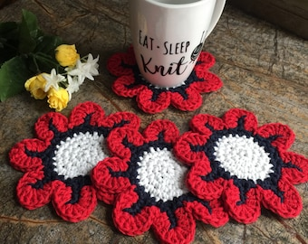 Coasters, Set of 4, Daisy Coaster, Coasters, Drink Coaster, Cotton Coasters, Flower Coasters, Tea Party, Gifts, Fourth of July, Dining