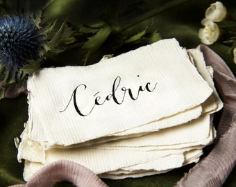 Modern calligraphy place cards on handmade paper