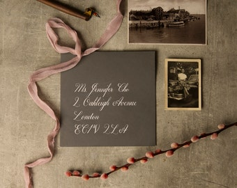 Envelope addressing with copperplate calligraphy