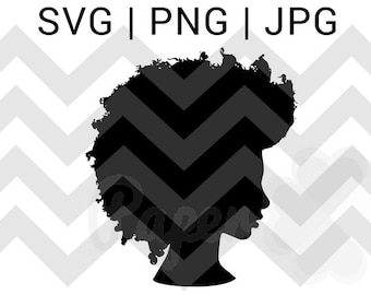 Black Woman Afro Silhouette Svg Clip Art Natural Nappy Curly Etsy