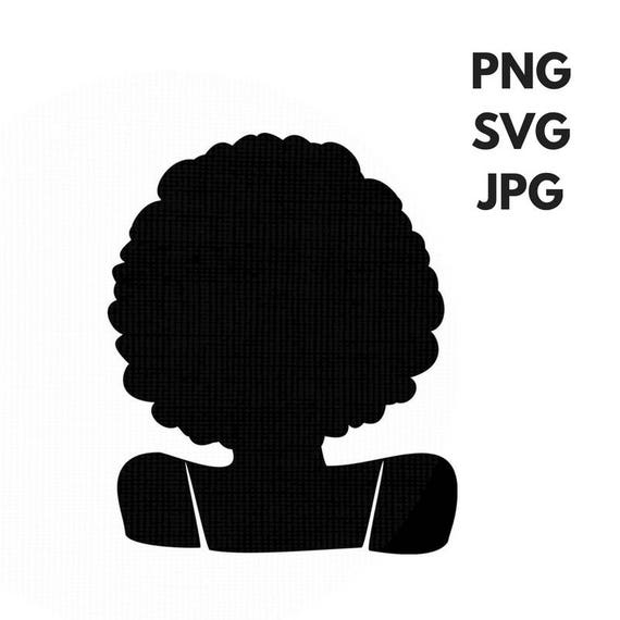 Afro Svg Silhouette Clip Art Afro Curly Natural Hair Png Files Etsy