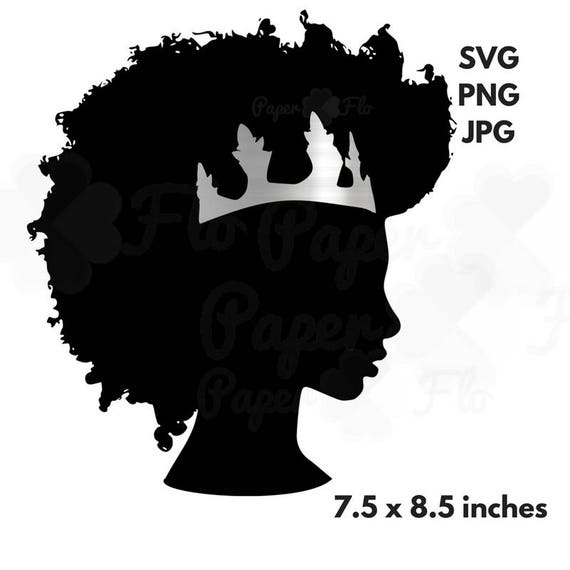 Afro Svg Silver Crown Clipart Black Woman Svg Black Girl Etsy