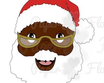 Black Santa SVG Clip Art Santa Claus DXF Files Digital Art Christmas Cut Files, African American santa svg