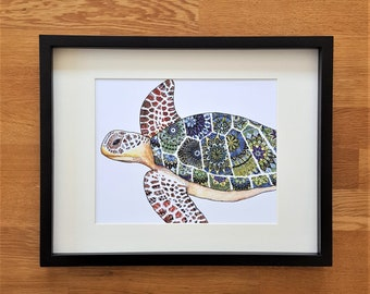 Turtle picture | A4 print | Turtle picture | Turtle doodle
