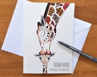 Giraffe and baby card | Christening card | New baby card | Giraffe Christening card