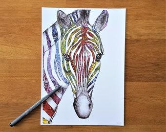 Rainbow zebra picture |  A4 print | Zebra print | Zebra doodle