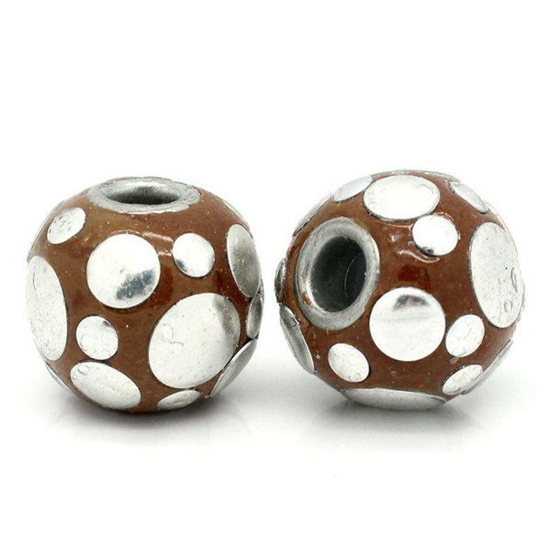 metal beads white metal 5 Kashmiri beads jewelry beads brown blue 16 mm