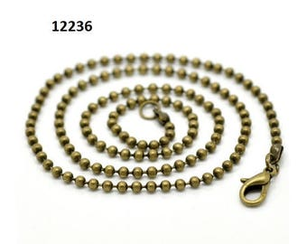 1 / 12 ball chain, ball chains, necklace, necklace, bronze, 46 cm, 2.40 mm balls, carabiner clasp, 17236