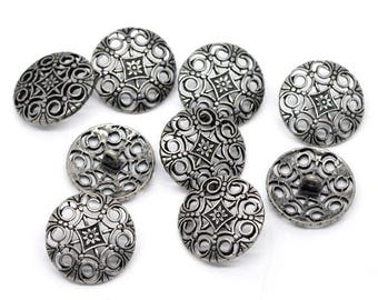 20 buttons, metal, vintage style, antique-style, 24mm, 09133